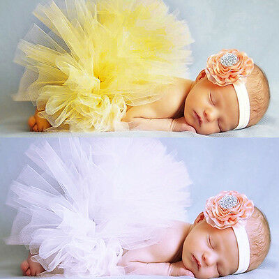 Newborn Tutu Clothes Skirt Headband Baby Girl Knitted Crochet Photo Prop Outfits