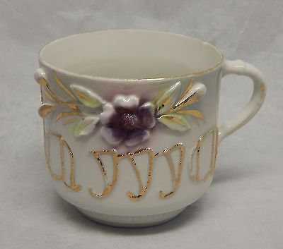 Antique Porcelain Mug with Embossed Flower and Mama