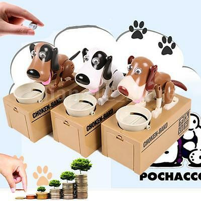Cute Dog Auto Stealing Money Piggy Bank Coin Cents Saving Box Pot Kid Gift Toy