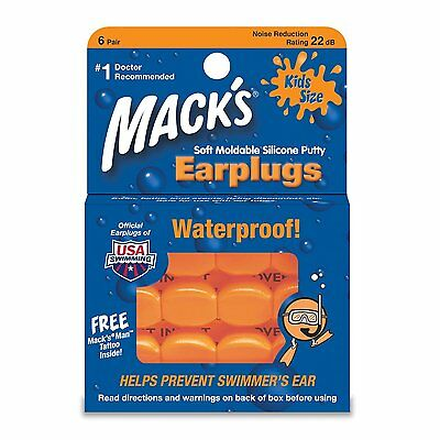 NEW Macks Moldable Silicone Ear Plugs, Kids Size, 6 Pair