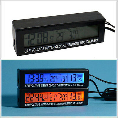 Car Thermometer In/Out Clock LCD Digital Blue/Orange Backlit Ice Alert Voltage
