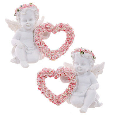 One Cherub With Pink Rose Heart Figurine - Ornament - Easter Gift - Gift -New