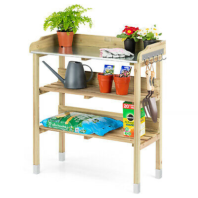 Wooden Potting Table Flower Plant Work Bench Garden Greenhouse Staging Christow