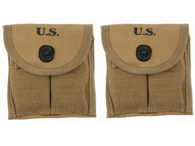 2Pcs Wwii Ww2 Us Army M1 Carbine Ammunition Pouch Canvas Bag Buttstock Pouch