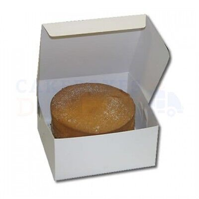 100 - White Folding 1 Piece ECONOMY Cake Box  CHOOSE YOUR SIZE