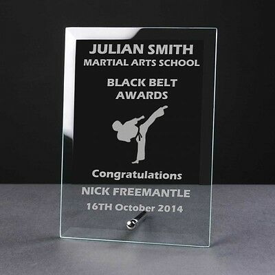 5 Inch Personalised Engraved Glass Plaque Martial Arts Kickboxing Karate Trophy