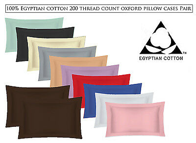 100% Egyptian Cotton 200 Thread Count Oxford Pair Of Pillow Cases