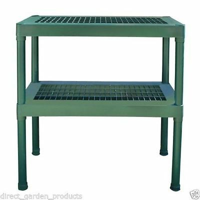 2 Tier Heavy Duty Plastic Greenhouse Staging Green House Potting Table Bench New