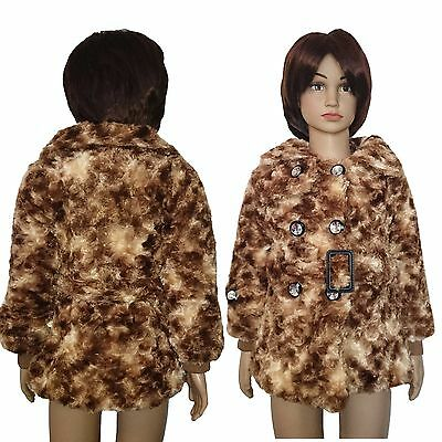 Girls LOVELY Faux Fur Fleece Coat Party Warm Jacket Brown Soft Top 2-6 Yrs #55
