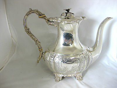 SOLID SILVER--LARGE COFFEE POT--HALLMARKED:-BIRMINGHAM 1950--by C.S.GREEN & Co.