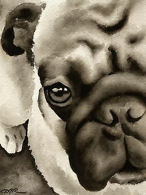 PUG note cards by watercolor artist DJ Rogers