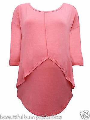 Dp's Coral Pink Maternity & Nursing Tunic Top Size 8 10 12 14 16 18 20 22 New