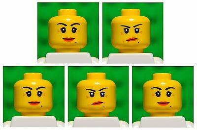 Lego HEADS dual sided # pack of 5 # girl princess woman female lips #1761