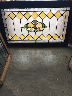 Sg 546 Antiques Stainglass And Textured Glass Transom Window