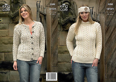 KING COLE 3508 ARAN KNITTING PATTERN SIZE 32-46  NOT the  FINISHED GARMENTS