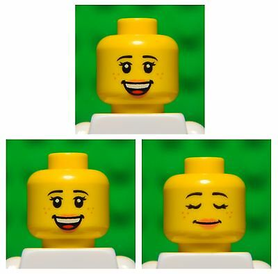 Lego HEADS dual sided # pack of 3 # girl princess woman female lips #1675