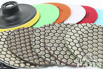 Diamond Polishing Pads 4 inch Dry 7 Piece Set& Backer Pad Granite Concrete Stone