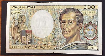1989 200 Francs France Banknote - 493531 circulated condition