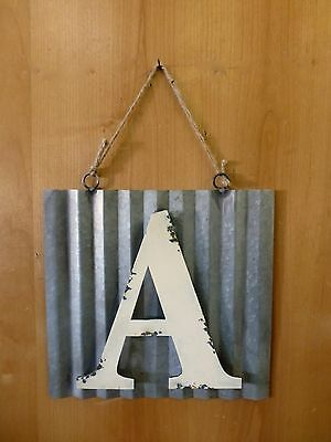 """10"""" CORRUGATED INDUSTRIAL METAL SIGN LETTER """"A"""" WHITE vintage rustic wall decor"""