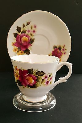 Vintage Crown Staffordshire England Tea Cup and Saucer Red Roses/Floral