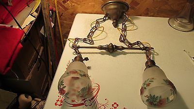 Antique Brass Hanging Light Fixture & 2 Floral Shades