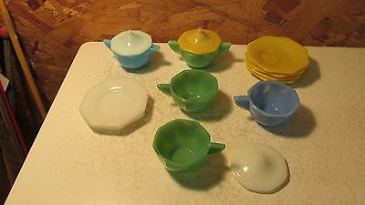 Old Akro Agate Octagon Children's Dishes  - 14 pcs