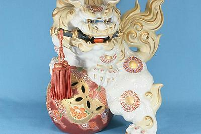 "Vintage Japan Leo Dragon Lion Kutani Tiger 10.5"" 6.2lb Ornament Signed 九谷焼"