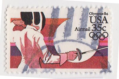 (UST-524) 1984 USA 35c Fencing Air Mail (DE)
