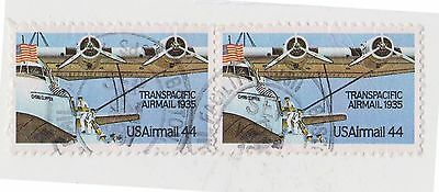 (UST-451) 1985 USA 44c pair transpacific air mail (F)