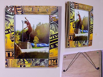 """5""""x7"""" Recycled skateboard picture frame."""