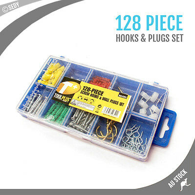 128pc Screw Hooks Assortment Picture Hanging Mounting Wall Plug Timber Accessory