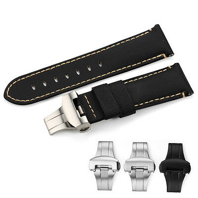 24mm Genuine Fabric Canvas Leather Watch Band Steel Clasp Strap For Panerai 44mm