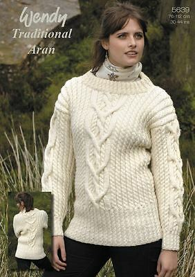 Wendy Knitting Pattern Interlace Cable Sweater in Wendy Traditional Aran (5639)