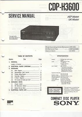 Service Anleitung Manual Heft Sony CDP-H3600 Compact Disc Player AEP UK  (B694)