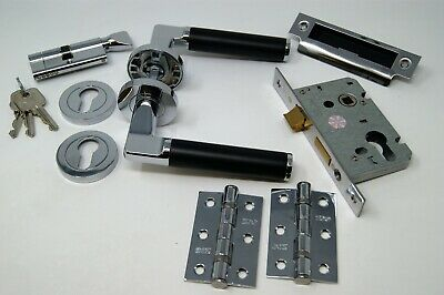 Milan Door Handle Pack (Internal Cylinder & Turn Lockset) C/w  Hinges