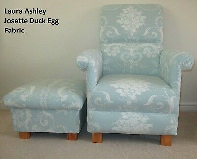 Laura Ashley Josette Duck Egg Fabric Chair Footstool Vintage Style Green French