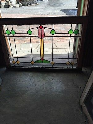 Sg 550 Antique Arts And Crafts Stained And Leaded Transom Window
