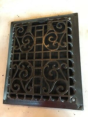 Antique Heating Grate Cast-Iron Ornate Open Shut Tc 51