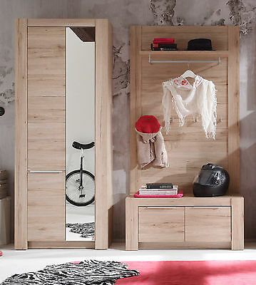 wandgarderobe flurgarderobe garderobe robinie eiche rustikal natur kunst eur 399 00. Black Bedroom Furniture Sets. Home Design Ideas