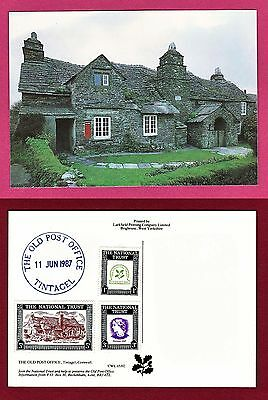 Old Post Office Tintagel postcard, w/ commemorative National Trust Stamps, 1987