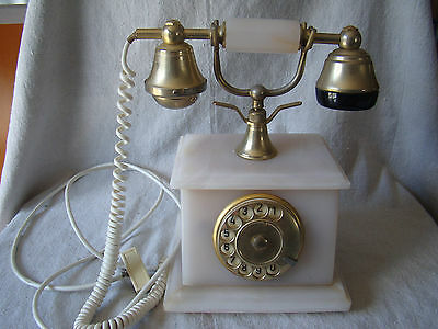 Vintage Alabaster Onix Telephone w/ Gold Plated Details - Made in Italy 81602