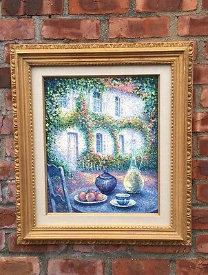 French Impressionist Still Life Painting Signed Jean Bellon. Le Petite DeJeuner