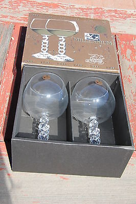 Cristal d'Arques France Millennium 2000 Large Wine Glasses Clear Glass Set MINT
