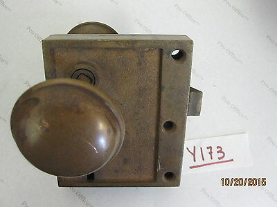 Vintage Antique Brass Victorian Rim Lock, Mortise Door Lock 4.5''x3.75''x1''