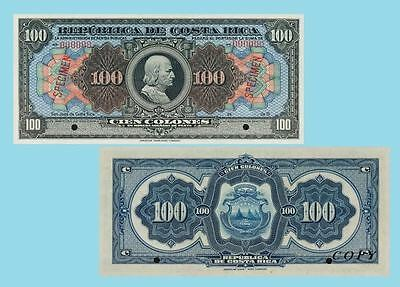 Costa Rica 100 Colones 1905.  UNC - Replica/Reproductions
