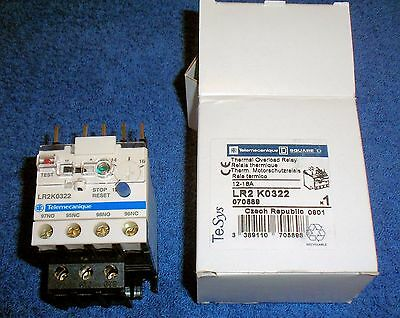 NEW LR2 K0322 Adjustable Thermal Overload Relay, Square D, Schneider Electric