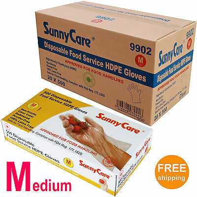10,000/CS Poly Disposable Food Service HDPE Gloves (Latex Vinyl Nitrile Free) -M