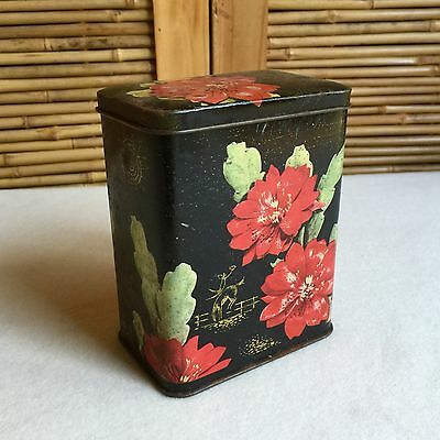 Old COLLECTABLE Vintage BISCUIT Tea TIN Cactus FLOWERS Horse RIDER Western THEME