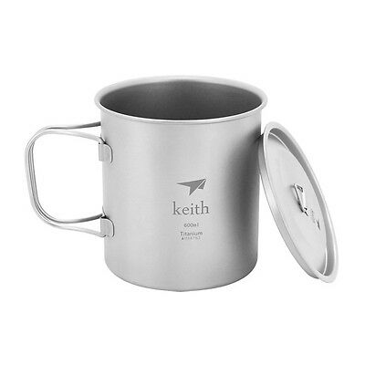 Keith Titanium Cup Home Water Cup Office Mug Outdoor Camping Folding Grip 600ml