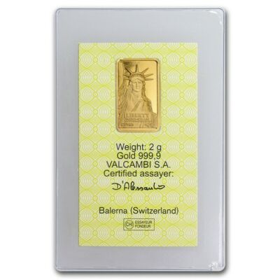 2 gram Statue of Liberty Credit Suisse Gold Bar - SKU #46776